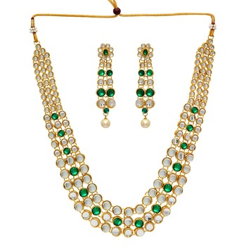 Partywear Special Green Color Kundan Necklace With Earring