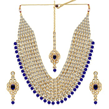Blue Color Kundan Necklace With Earring & Maang Tikka For Women