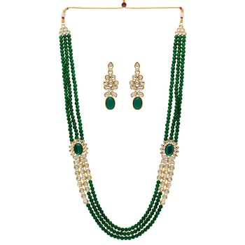 Partywear Collection Green Color Kundan Necklace With Earrings