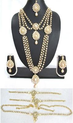 White pearl stone kundan bridal necklace set