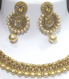 Golden stone polki drop necklace set