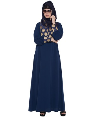 Navy Blue Kashiboo Brocade Printed Islamic Abaya