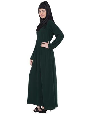 Dark Green Kashiboo Plain Islamic Abaya