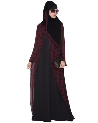Red Print Kashiboo Georgette Printed Islamic Abaya