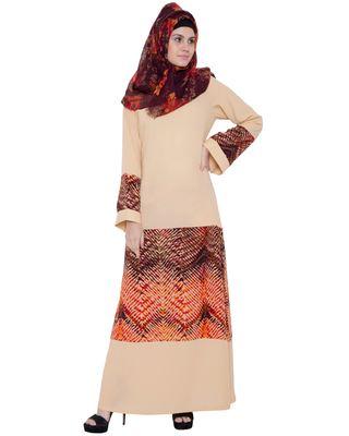Beige kashiboo poly crepe printed islamic abaya