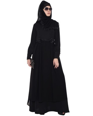 Black Rich Nida Georgette Lace Lace Islamic Abaya