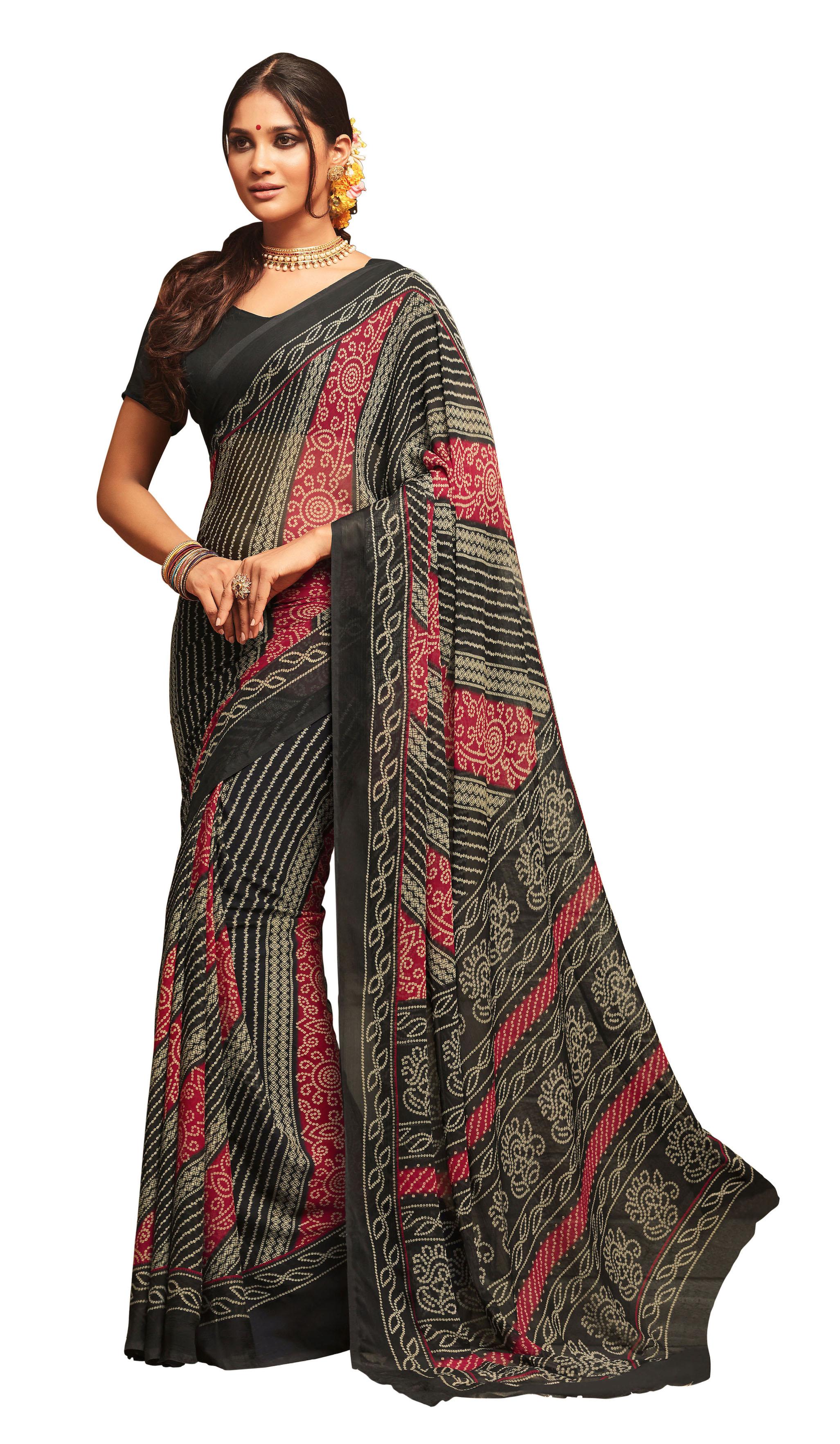 ae9ea2ff63 Black printed chiffon saree with blouse - Fashion House - 2667065