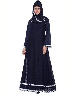 Blue Premium Nida Lace Lace Islamic Abaya