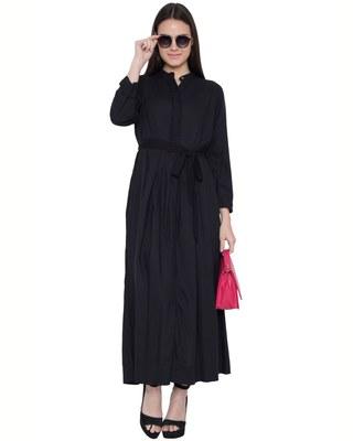 Black Rayon Plain Islamic Abaya