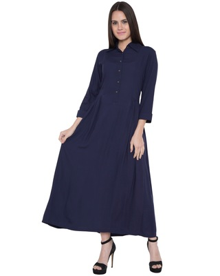 Blue Rayon Plain Islamic Abaya