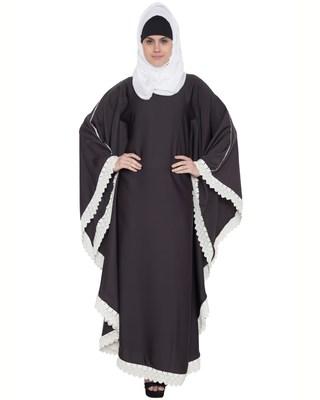 Dark Grey And White Lace Nida Lace Islamic Abaya