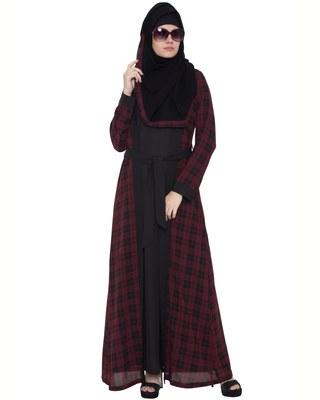 Black maroon check summercool georgette checkered islamic abaya
