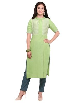 Light-green khadi cotton straight kurtis