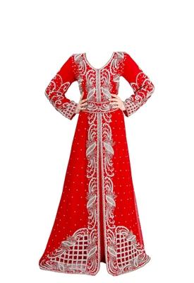 Red georgette islamic kaftan with zari and stone work
