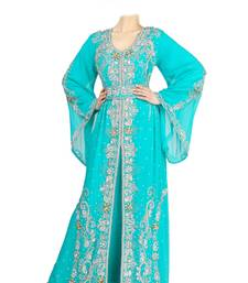 Turquoise georgette islamic kaftan with zari and stone work