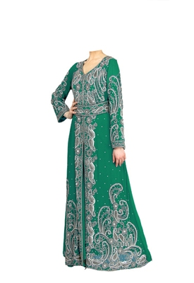 Green georgette islamic kaftan with zari and stone work