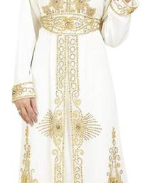 Off White georgette islamic kaftan with zari and stone work