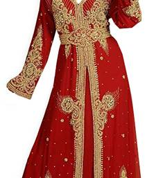 Maroon georgette islamic kaftan with zari and stone work