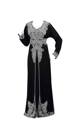 Black georgette islamic kaftan with zari and stone work