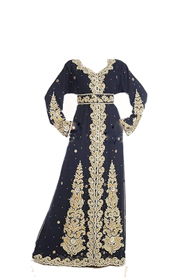 Black georgette islamic kaftan with zari and stone work