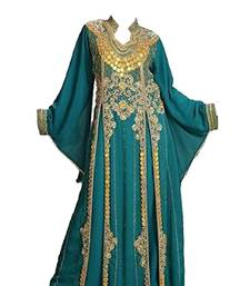 Teal Green georgette islamic kaftan with zari and stone work