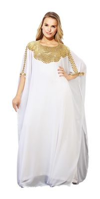 White georgette embroidery stitched islamic kaftans