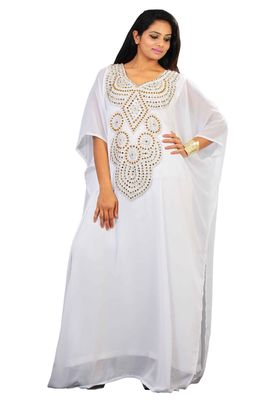Off White georgette embroidery stitched islamic kaftans
