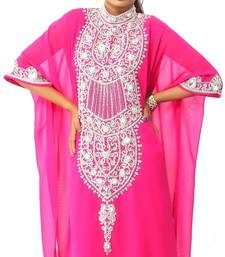 Pink georgette embriodery stitched islamic kaftans