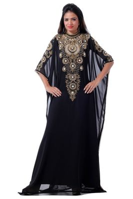 Black georgette embriodery stitched islamic kaftans