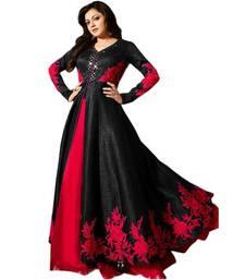 Buy Black embroidered satin Anarkali Suit bangalore-silk-salwar-kameez online