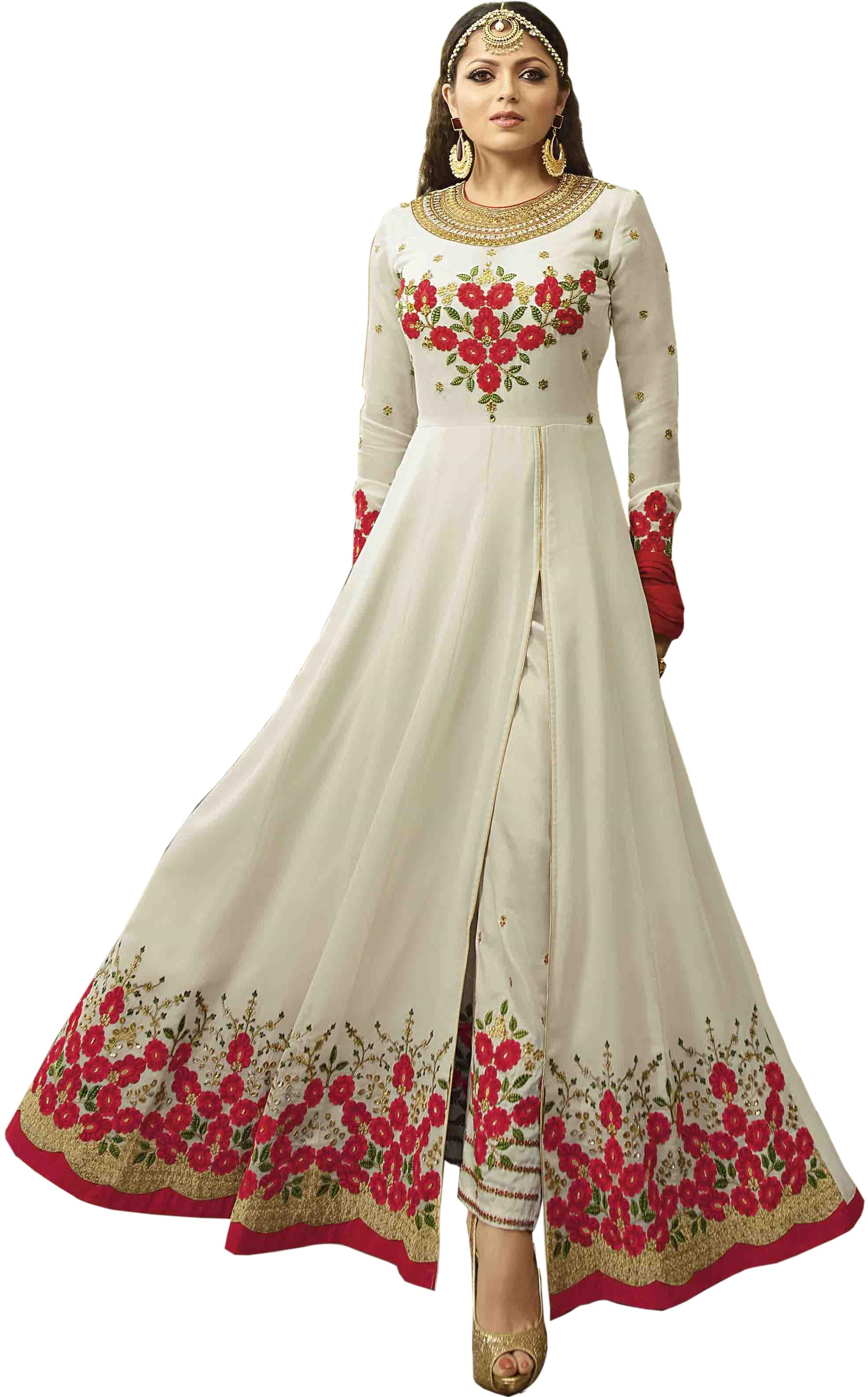 7e046db182 White Color Heavy Embroidered Work Faux Georgette Salwar Suit Dupatta  Anarkali Gown - Divine International Trading Co - 2668589