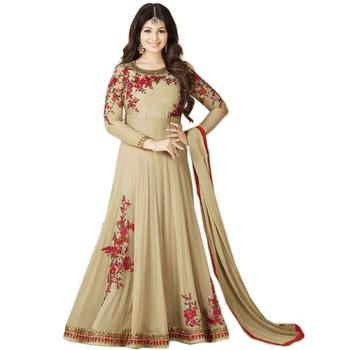 b1bc804437 Beige Color Heavy Embroidered Work Georgette Salwar Suit Dupatta Anarkali  Gown