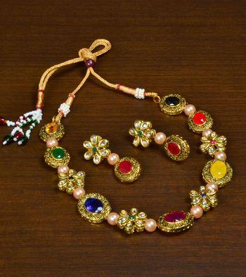 Kundan and Stone Embellished Meenakari Worked Designer Choker for Women