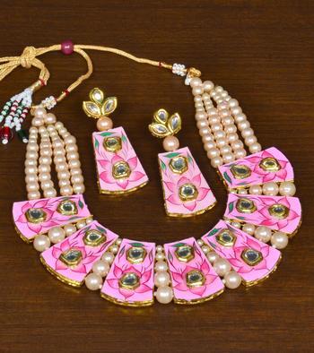Kundan and Pearl Embellished Meenakari Worked Designer Necklace for Women