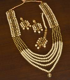Pearl and Zircon Stone Embellished Multi-layered Designer Necklace Set for Women