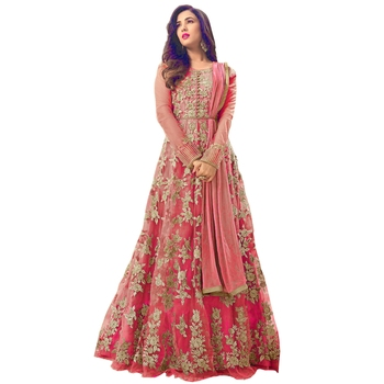 Dark Peach embroidered net Anarkali Salwar Suit
