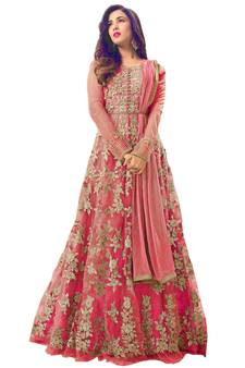 baa0bfceda5 Dark Peach embroidered net Anarkali Salwar Suit. Shop Now