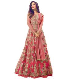 Buy Peach embroidered net Anarkali Salwar Suit anarkali-salwar-kameez online