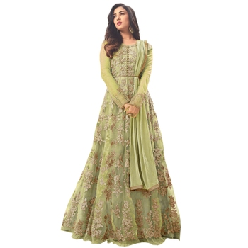 Green embroidered net Anarkali suit
