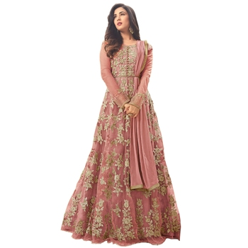 Light Peach embroidered net Anarkali Salwar Suit