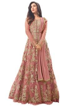 b11ba983dd81 Light Peach embroidered net Anarkali Salwar Suit