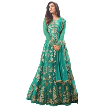 Green embroidered net salwar anarkali suit