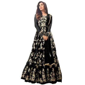 Black embroidered net semi salwar with dupatta