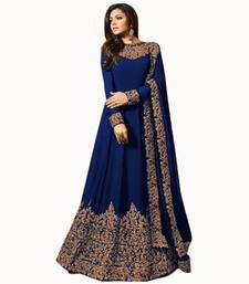Blue embroidered faux georgette anarkali suit