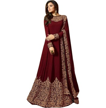 7d5001328d Maroon embroidered faux georgette Anarkali Suit - Divine ...