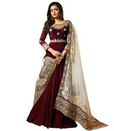 Maroon Embroidered Faux Georgette Anarkali Suit