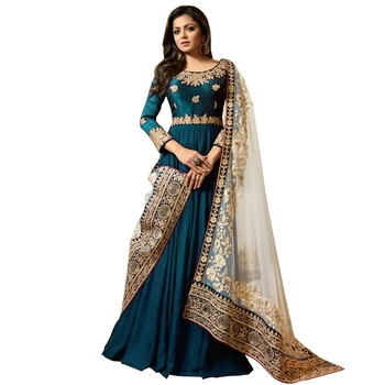 Turquoise Embroidered Faux Georgette Akarkali Suit
