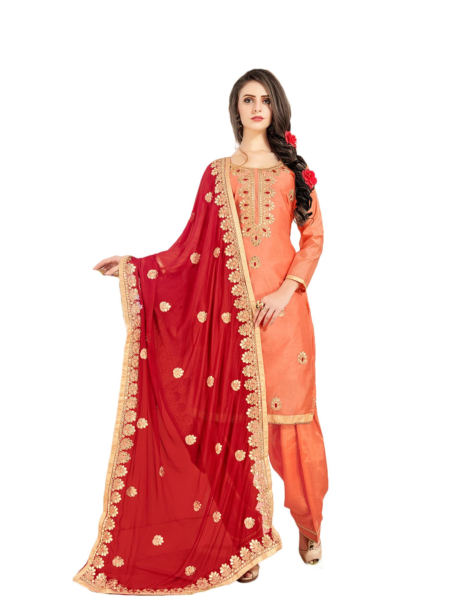 507abeeca6 Orange gota patti work chanderi silk unstitched salwar with dupatta - Nallu  Collection - 2668887
