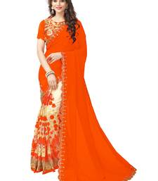 Buy Orange embroidered georgette saree with blouse women-ethnic-wear online