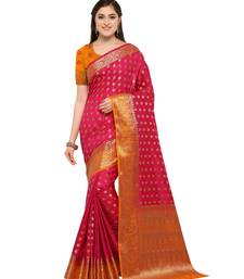 Pink woven jacquard saree with blouse